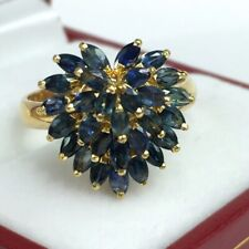 14k Solid Yellow Gold Heart Shape Ring, Natural Sapphire,Sz 7. 4.18 Grams