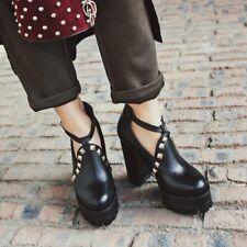 UK Womens Rivet Round Toe Shoes Punk High Block Heel Platform Buckle Pump Shoes
