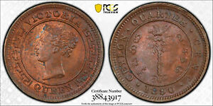 Ceylon 1890 1/4 Cent PCGS MS64RD rare in red PC0875 combine shipping