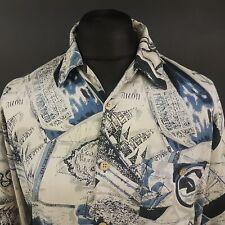 BOBBY CHAN Mens Hawaiian Print Shirt RETRO 70s 80s 90s LARGE Abstract SILK