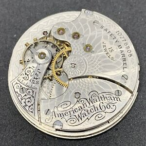 Waltham Seaside Pocket Watch Movement 1890 6s 15j Hunter Parts Repair F2819