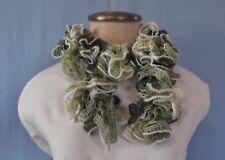 """New Hand Crochet Shades of Green Wide Edging Twisted Ruffled Scarf 40"""" Long"""