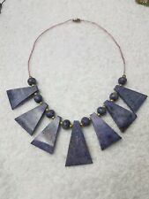 Handmade RAW CHAROITE (?) Fan Necklace Slabs and Beads Seed Beads NE144