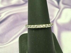 Sterling Silver and CZ Wedding Band Ring Size 7