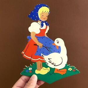 Märchen-Holzbild ALT 1970er 20cm Polka Dot Mädchen Vintage Kinderzimmer-Deko RAR