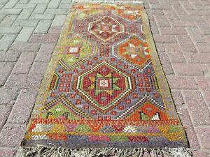 "Vintage Turkish Small Kilim, Door Mat, Bathmat, Small Rug Carpet Teppich 26""X52"""