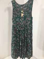 AMERICAN EAGLE WOMEN'S LACE UP FRONT SLEEVELESS DRESS HUNTER GREEN/MULTI XS NWT