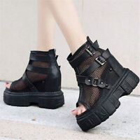 Punk Goth Women Platform Wedges Gladiators Sport Sandals Summer Ankle Boots New