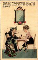 RARE -- RISQUE - HUMOR - ART WOMEN - Cartoon Postcard 1900s - POSTED