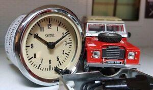 "Smiths Dash Panel 12v 2"" Analogue Time Clock Magnolia Land Rover Classic Car"