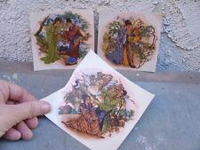 Vintage Ceramic Decal Set 3 Asian Chinese Japanese Scenes man Woman Garden Bird