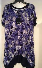 NWT Simply Vera Wang Blue Purple Floral Sweet Nothings Short Sleeve Nightgown 3X