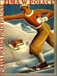 TOURISM SPORT WINTER POLAND SKI SKIING SNOW SKIIER NEW ART PRINT POSTER CC2954