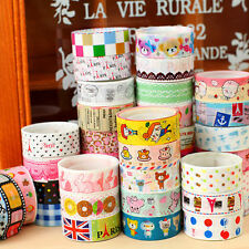 10PCS Bulk Sticky Adhesive Sticker Washi Tape Cartoon Colorful New Printed DIY