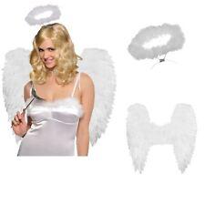 Blanco señoras de lujo alas + Halo de Plumas De Ángel De Navidad Natividad Traje De Hadas