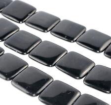 "30X30MM BLACK JET GEMSTONE ORGANIC PERFECT SQUARE 30MM LOOSE BEADS 8"""