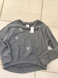Girls Abercrombie Grey Long Sleeve Sweatshirt With Sequence Hearts Size XL NWT