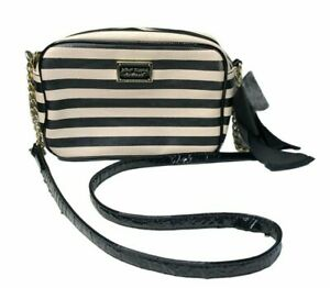 Betsey Johnson Stripe Crossbody Bag Oversize Bow Shoulder Bag Chain Purse