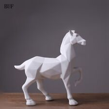 Sculpture Modern Abstract White Horse Statue Resin Ornaments Home Decoration f25