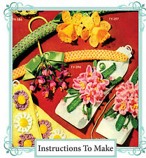 Vintage Crochet pattern-how hacer Vintage Crochet flowers-daffodil, Fucsia Etc