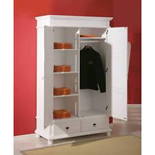 Armoire penderie dressing rangement chambre vintage 2 portes bois massif BLANC