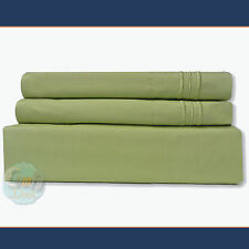 4 Piece Bed Sheet Set 1800 Series Deep Pocket California King Size / Sage Color