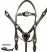 TURQUOISE BLING CRYSTAL BREAST COLLAR HEADSTALL WESTERN HORSE TACK SET LEATHER