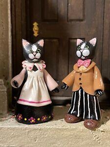 Vintage Miniature Dollhouse Artisan Sculpted Clay Cat Couple Italy Unique 1:48