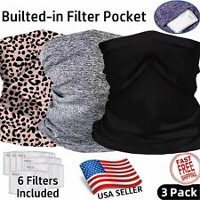 3 PACK Neck Gaiter with FILTER Bandana Breathable Scarf Headband ADULT and KID