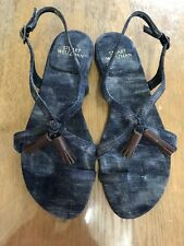 "5bb7e6b3e4bf REDUCED BNIB STUART WEITZMAN SANDALS SIZE 7.5 Navy Denim ""flapper"" REDUCED"