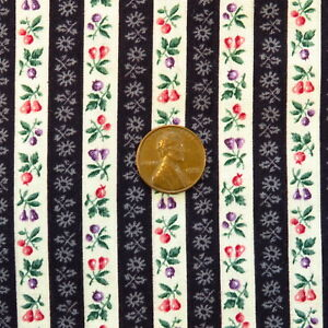 1.9 Yards Vintage Floral Stripe Fabric Gray Cotton
