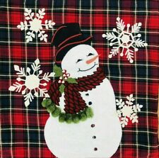 "NEW Pottery Barn Snowman Plaid Crewel Christmas 20"" Pillow Cover HTF Decor"