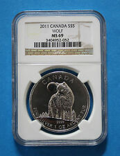 2011 CANADIAN $5 SILVER WOLF - NGC MS69 (Regular Label)