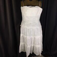Eliza J New York Dress Size 10P Eyelet Tiered White Tea Dress Summer