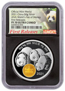 2021 China 50gm Silver ANA World's Fair of Money Show Panda Medal NGC PF70 UC FR