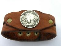 Cuff tobacco brown Bracelet Bison Leather Buffalo Indian Nickel coin full horn