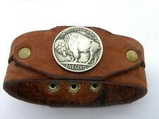 Cuff Bracelet Leather Buffalo Indian Nickel coin nice gift for Bills Bulls fans