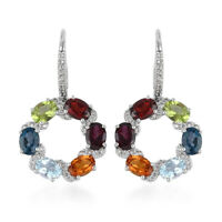 Dangle Drop Earrings 925 Sterling Silver Platinum Over Garnet Blue Topaz Ct 4.2