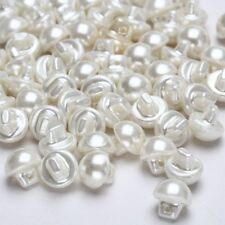 50PCS Pearl Effect Sewing Buttons Round Domed Clothes Dress White 9mm #KHN