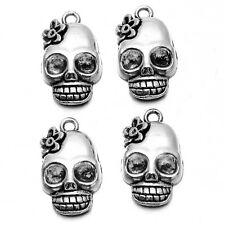 20x New Antique Silver Flower Skull Head Shape Charms Alloy Jewelry Pendant BS