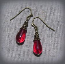 BRONZE FILIGREE RUBY RED GLASS SMALL TEAR DROP EARRINGS VICTORIAN GOTHIC TUDOR
