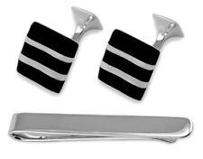Sterling Silver Onyx Wave Cufflinks Tie Clip Box Set