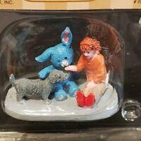 Lemax Christmas Village Town Snuggle Time 02919 Child Dog Stuffed Bunny Rabbit
