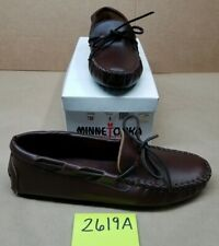 Men's Sz 8 Minnetonka Moccasin 798 Brown Leather Hard Sole
