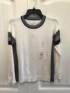 Hippie Rose NWT Cashmere Combo White Red Gray Sweater $34 M051
