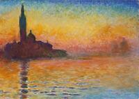 "CLAUDE MONET ~ Venice at Twilight ~ *FRAMED* CANVAS ART Poster ~ 16""X 12"""
