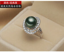 2018 BIRD'S NEST DESIGN NATURAL AAA++ 11-12 MM SOUTH SEA black PEARL RING + BOX