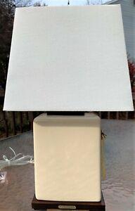 Ralph Lauren Square Lamp Tan Cream Crackle Porcelain Table Desk Accent Office