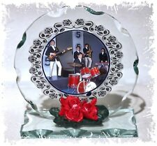 Dave Clarke 5, Glad All Over, Cut Glass Round Plaque Red Roses Ltd Edition  #1