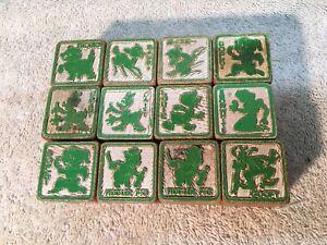 Vtg DISNEY  Wood Alphabet Picture BLOCKS 1940s 50s Childrens Kids 12pc  LOT Toy